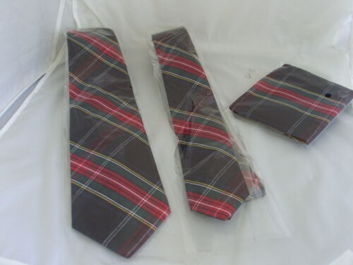 "14G TARTAN Black//Red//Green-Mens Tie />Classic 3.5/"" OR Skinny 2/"" OR Set OR Hanky"