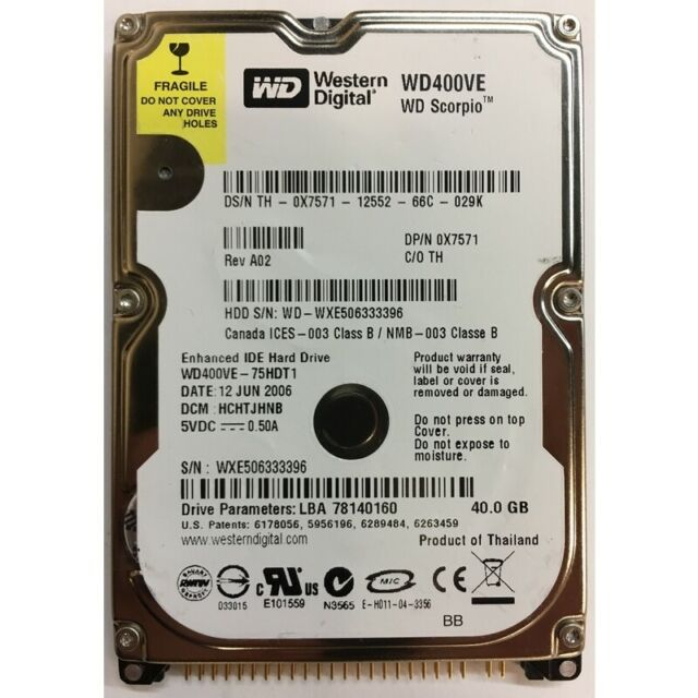 "Western Digital 40GB, 5400RPM, IDE 2.5"" - WD400VE"