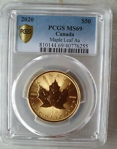 2020 1oz Canadian Maple Leaf 24k Gold Coin Slabbed Graded PCGS MS69 High Quality