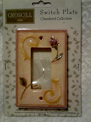 Croscill Chambord Rocker Wall Light Switch PLATE COVER PURPLE ROSE BUD Very Rare