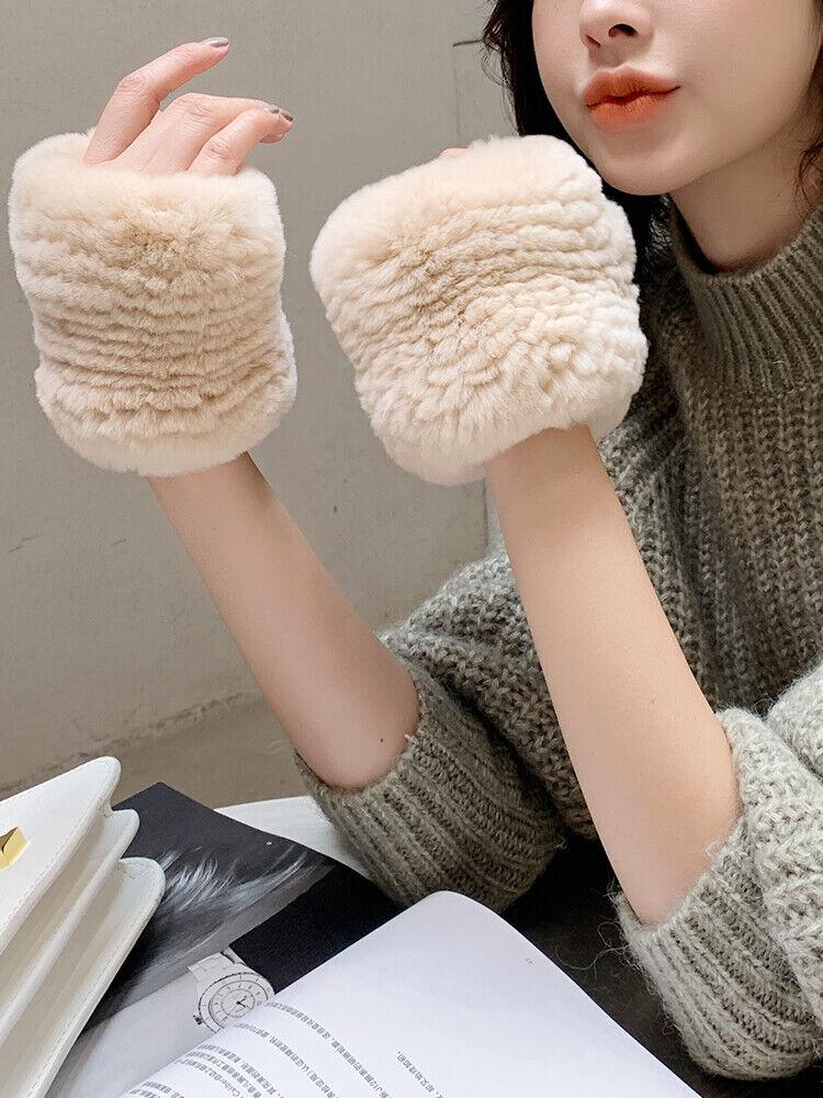 Frauen Handschuhe Echte Kaninchenfell Fäustlinge Gestrickt Fingerless Warm 47263