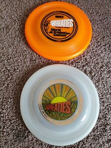 2 WHAM-O Wheaties 1982 & 1983 Frisbee Flying Disc World Jr. Contest pair lot