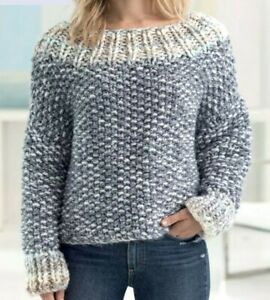 Knitting Pattern - Ladies Chunky Boat Neck Sweater (XS-L ...