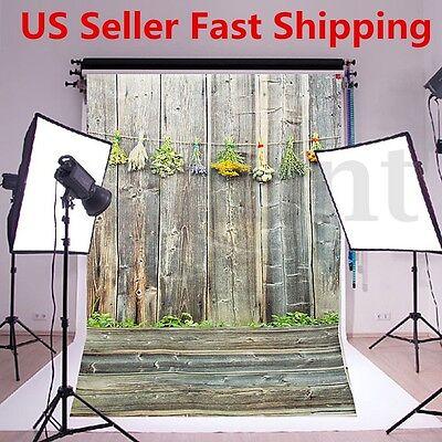 Retro 3x5ft Vinyl Backdrop Photography Wooden Wall Floor Background Studio Props