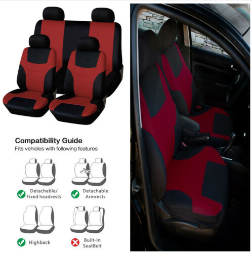 Comfort/&Stylish 5 Seat Car Front Low Back Bucket Covers+Rear Backrest Seat Cover