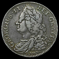 1745 George II Early Milled Silver Lima Half Crown, AVF / VF