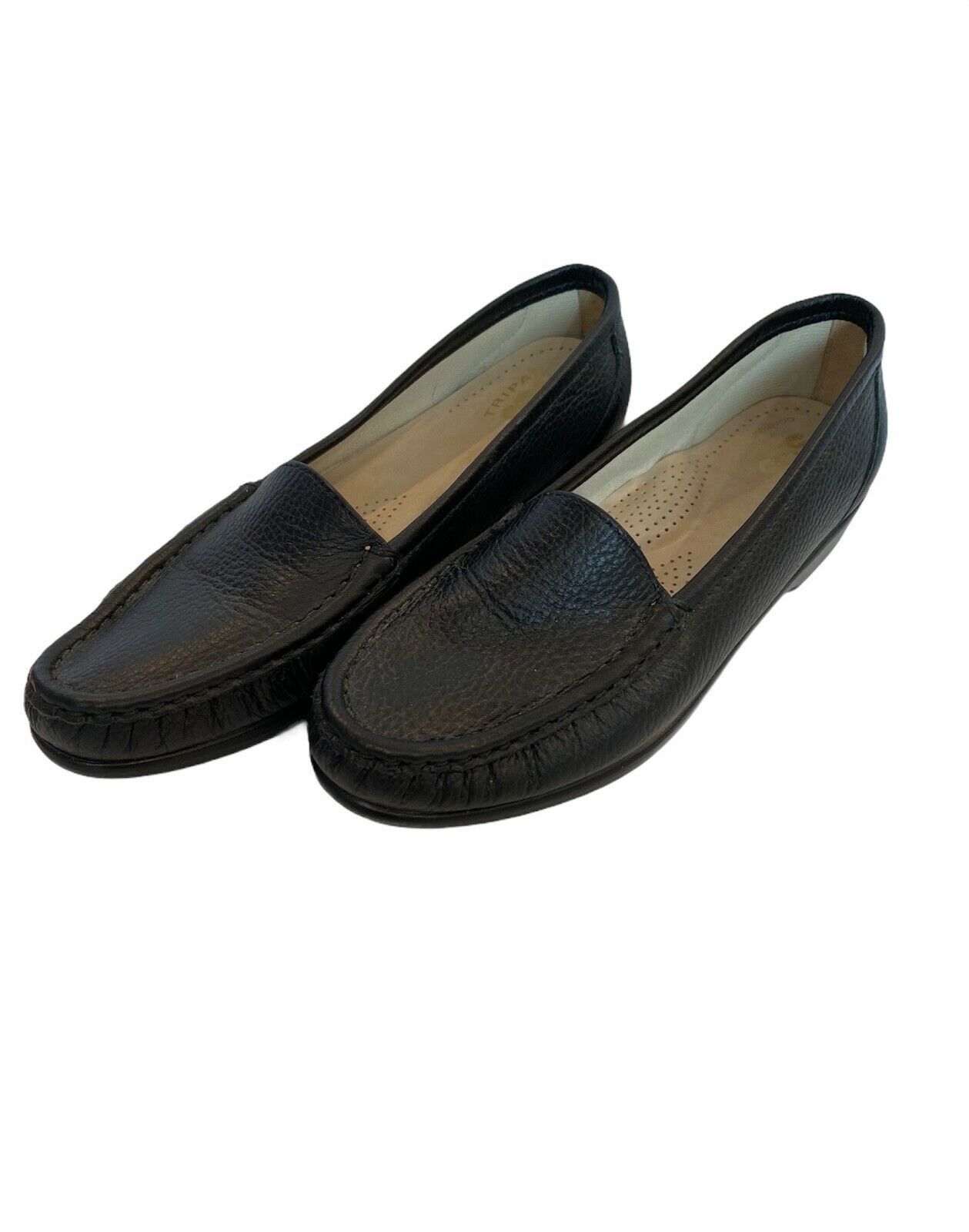 SAS Women's Simplify Slip On Black Leather Comfort Driving Loafer Shoes Size 6.5