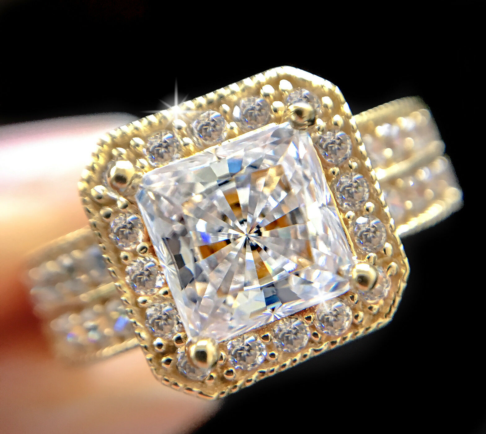 1.5 ct Princess Halo Top Russian CZ Imitation Moissanite 14 Kt gold Over SS 5