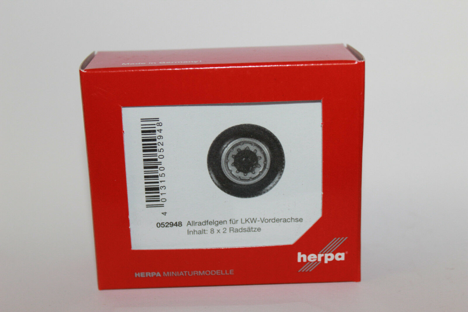 HO 1//87 Herpa # 52931 All-Terrain Tires//Wheels Front Axle 8 sets 12mm x 4mm
