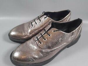 Retro Silver Glitter Lace Up Shoes Uk Size 5 38 Strastradivarios Metallic Shoes Ebay
