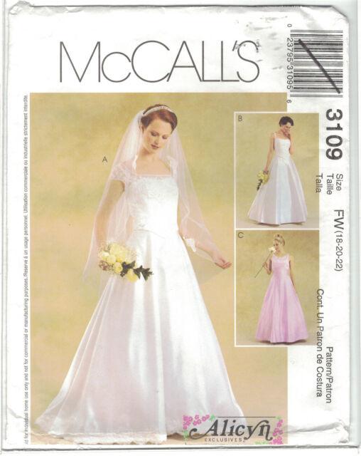 McCalls 3109 Alicyn Wedding Dress Gown Pattern Cap Sleeve Option ...