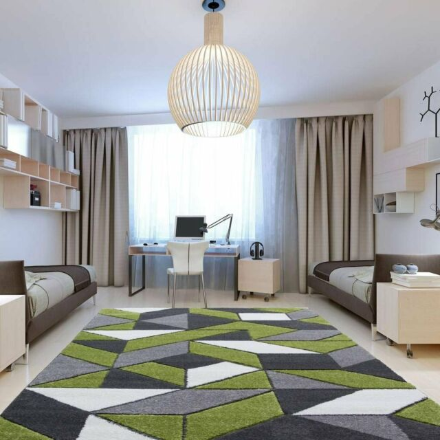 Rio Green Gray Geometric Tiles Mosaic Modern Design Living Room Area Rug  5\'3\