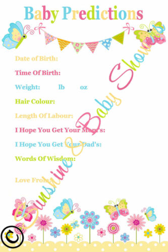 Baby Predictions Baby Shower 20 Sheets Players Boy Girl Neutral Lovely Keepsake