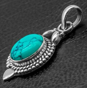 Glitzs Jewels 925 Sterling Silver Pendant with Stone in Gift Box Blue//Green