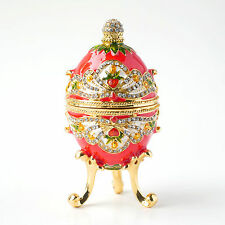 Faberge Egg w Rich Enamel & Sparkling Rhinestones Jewelry Trinket Box Royal Red
