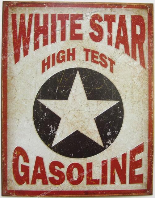 White Star Gasoline TIN SIGN vtg service station mobil gas oil garage decor 1999