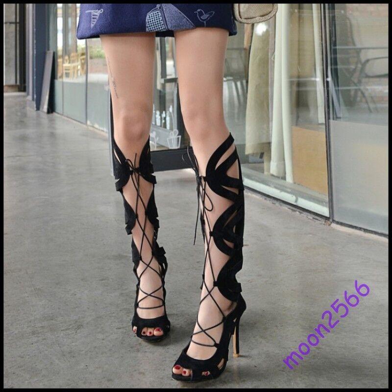 femmes Cut Out Sexy Cross Strappy Sandal bottes Roman Open Toe Stilettos chaussures SZ