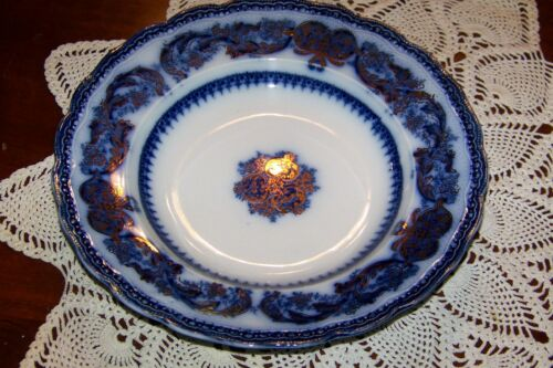 Madras Wood /& Sons England 9 1//8-inch Soup Bowl Flow Blue w// Gold Accents