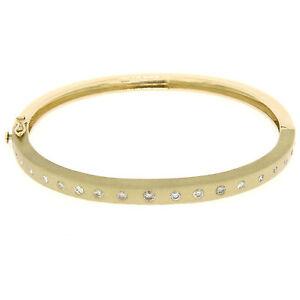 14k-Yellow-Gold-85ctw-Burnish-Diamond-7-034-Hinged-Sandblast-Open-Bangle-Bracelet