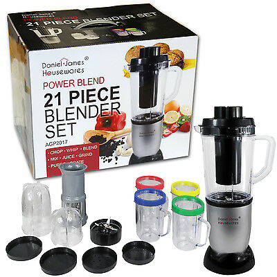 21 PIECE POWER BLEND BLENDER SET JUICER SMOOTHIE MAKER CHOPPER MIXER GRINDER