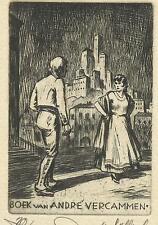 Paar vor Burg Exlibris Walter Helfenbein Spanish Couple castle etching Bookplate