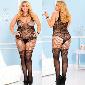 Plus-Size-Lingerie-One-Size-Queen-Black-Floral-Lace-Bodystocking-ML1022Q
