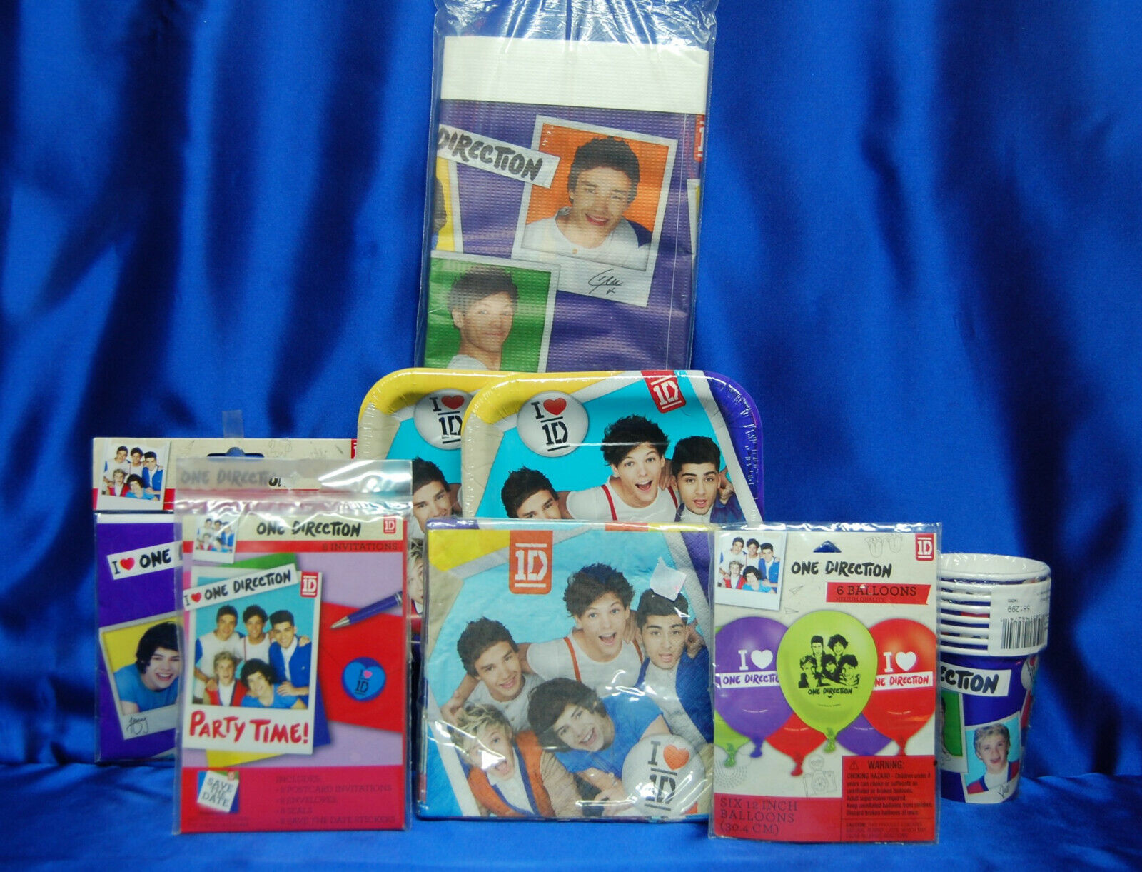 1 Direction Party Set   10  Plates Napkins Cups Tablecover Invites Balloons ++