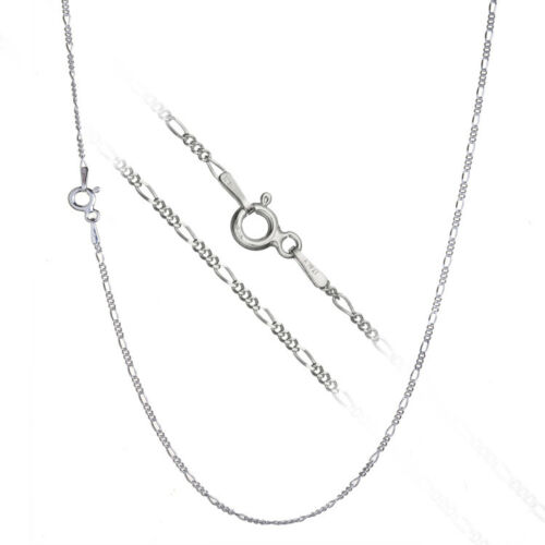 Solid 925 Sterling Silver 1mm Thin Italian Figaro Link Chain Necklace ALL SIZES