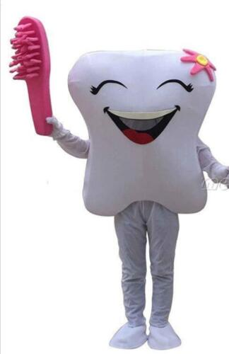 NEW Tooth Mascot Costume Fancy Dress Advertising Dentist Outfit Adult Size Party