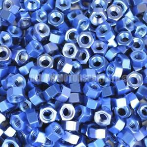 Blue-Anodised-Alloy-Hex-Nut-Choice-Of-Size-Metric-M4-M5-M6