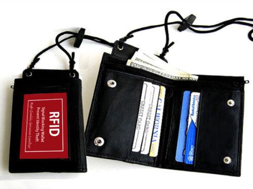 RFID Blocking Leather Neck Strap ID Badge Credit Cards Holder Zip Lanyard Wallet