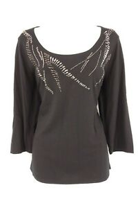 COLDWATER-CREEK-Blouse-Women-039-s-M-10-12-Black-Beaded-3-4-Sleeve-Shirt