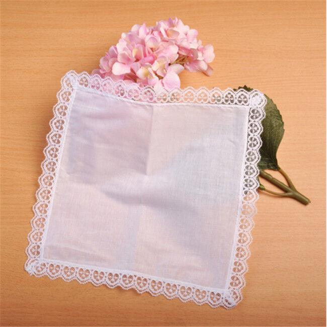 Hombres Mujeres Encaje Algodón Suave Pequeño bolsillo llano pañuelos Pañuelo Pañuelo la