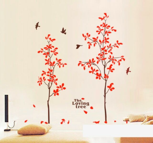 The Loving Tree Birds Red wall stickers Decal Removable Art Vinyl Decor DIY