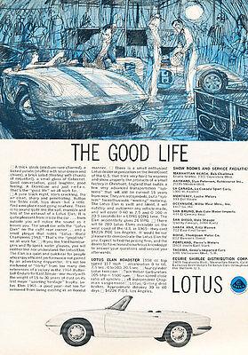 1965 Lotus Elan blue Good life Classic Advertisement Print Ad - PE21