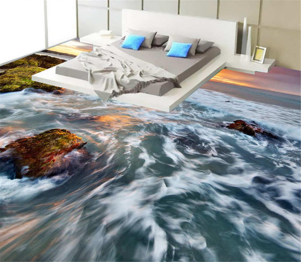 White tumbled Wave 3D Floor Mural Photo Flooring Wallpaper Home Print Decoration