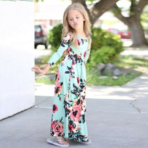 Floral Kids Girls Dress Summer Pageant Party Holiday Princess Long Skirt Size