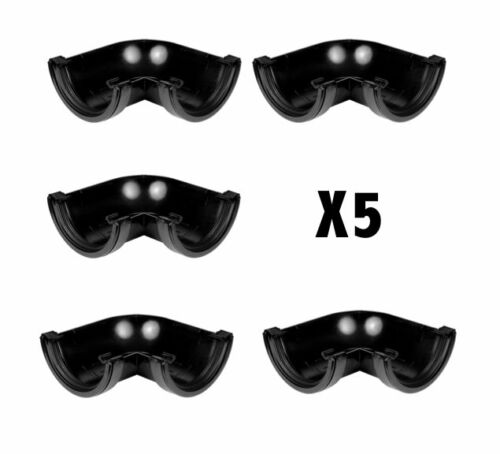 PACK OF 5 X 112mm Half Round Gutter Angle 90° Bends In Black   Aquaflow  BS4576