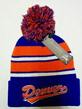 Denver Broncos Team Color Pom Pom Knit Beanie Hat Cap. 3D Embroidered City name!