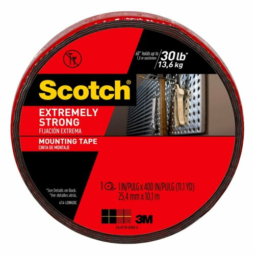 Black 414-Longdc 1-Inch X 400-Inches Scotch Extreme Mounting Tape 1-Roll
