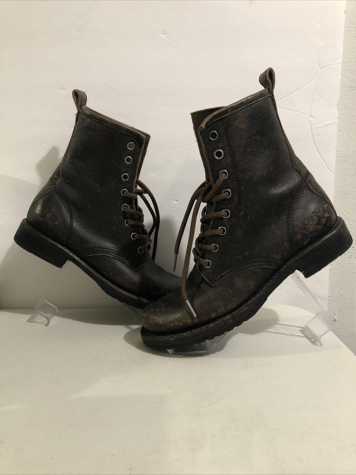 FRYE Women's Veronica Combat Boots Dark Brown Sz 6 B