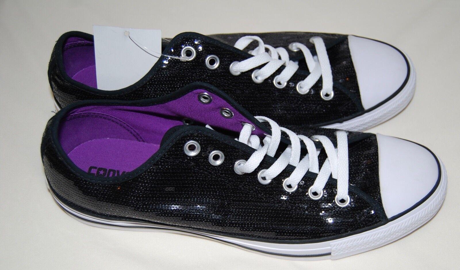 NWOB Converse All Star Chuck Taylor Femme Noir Sequined Sneakers Wm sz 12 13