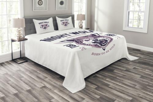 Roaring and Angry Animal Print Wolf Quilted Bedspread /& Pillow Shams Set