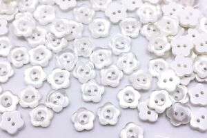 White Flower Button Small Shiny Two Holes Floral Shaped Blouse Shirt 10mm 20pcs