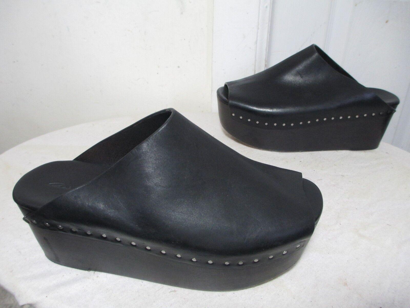 1160 Cuero Negro Negro Negro Rick Owens para mujer de plataforma mulas EU 37 1 2 US 7 Made in   directo de fábrica