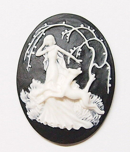 4 of 40x30 mm White over Black Victorian Goddess Diana the Huntress Woman Cameos