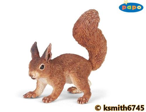 Papo debout écureuil solide Jouet en plastique Wild Zoo Woodland Animal Rongeur Nouveau