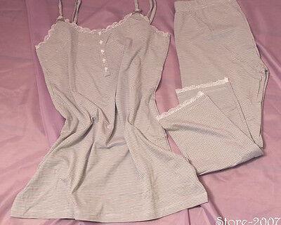 Damen Pyjama Schlafanzug 36/38 40/42 grau weiss gestreift TCM Tchibo