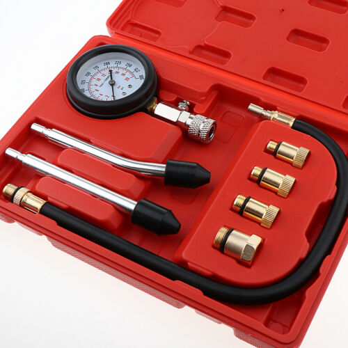 Glow /& Spark Plug Adaptors Petrol Diesel Engine Compression Tester Kit Injector
