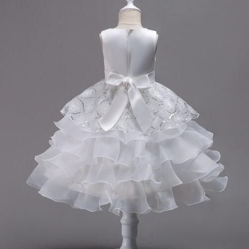 Enfants Filles Demoiselle D/'honneur Layered Dress Ruffle formelle de mariage robe de bal tutu Robes